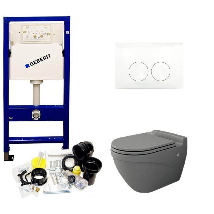 Geberit UP100 toiletset met Bocchi Taormina Arch mat grijs toilet en softclose zitting