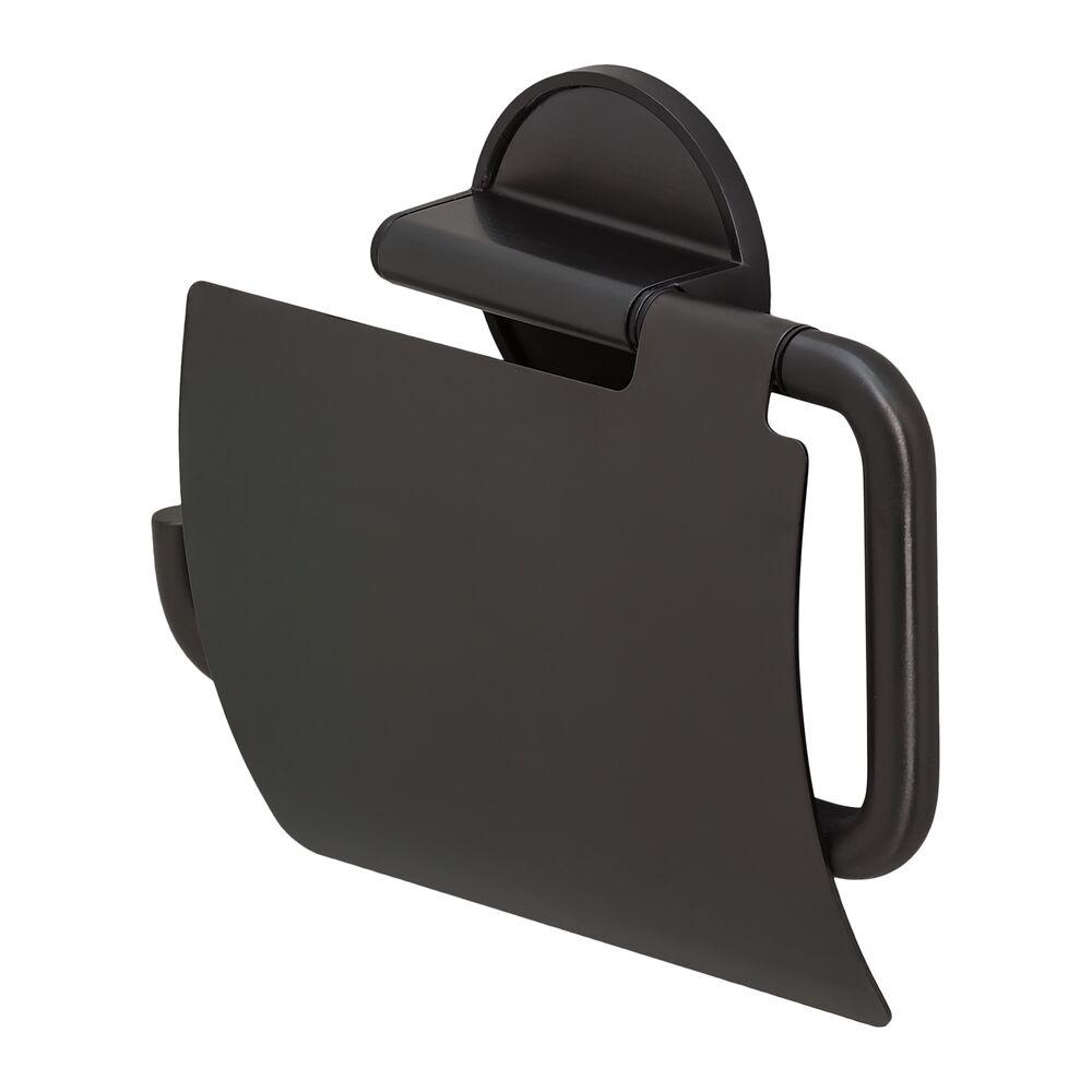 Tiger Tune Toiletrolhouder met klep Zwart metaal geborsteld - Zwart