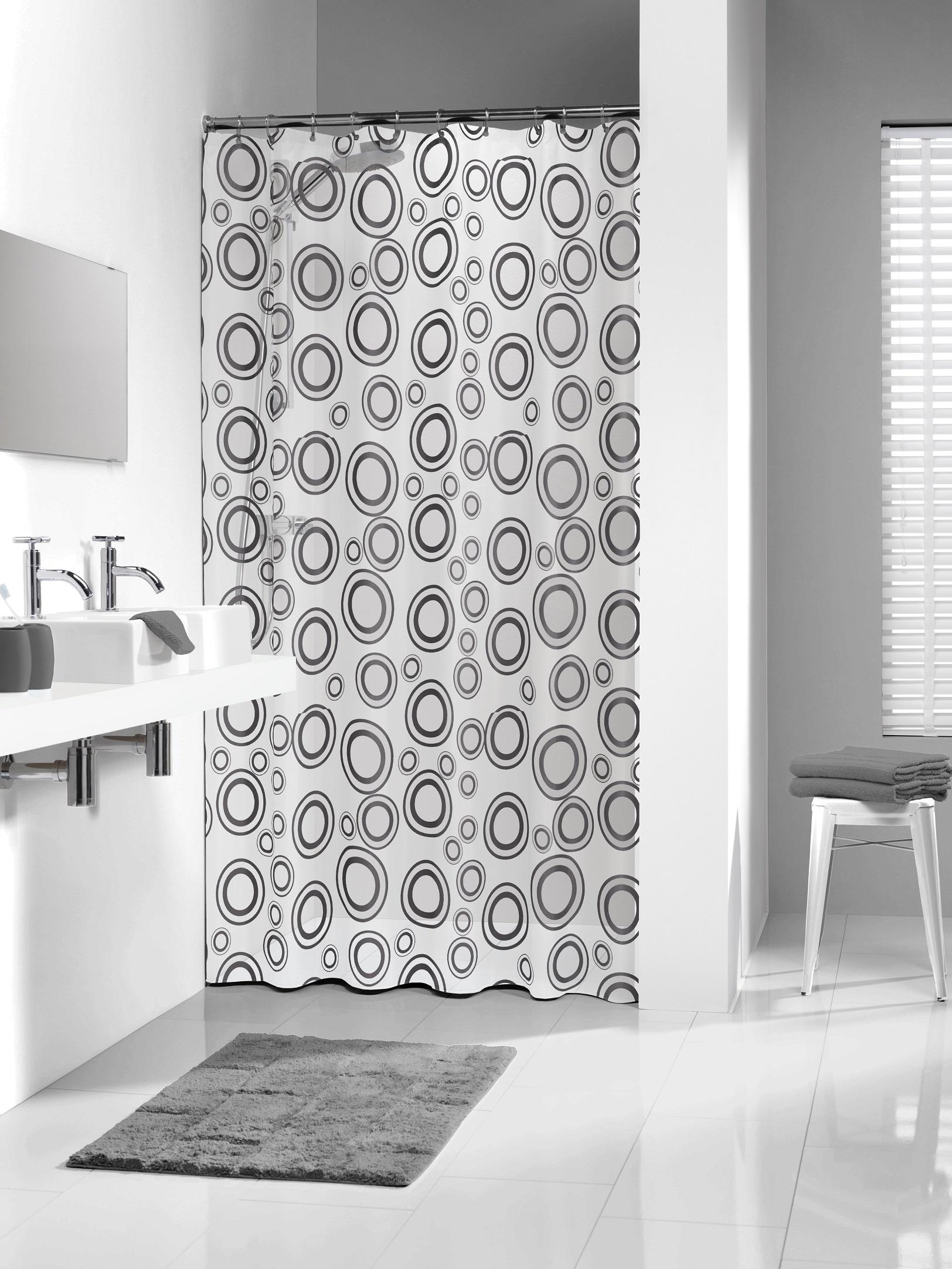 Sealskin douchegordijn Circolo PVC grijs print 180x200 cm