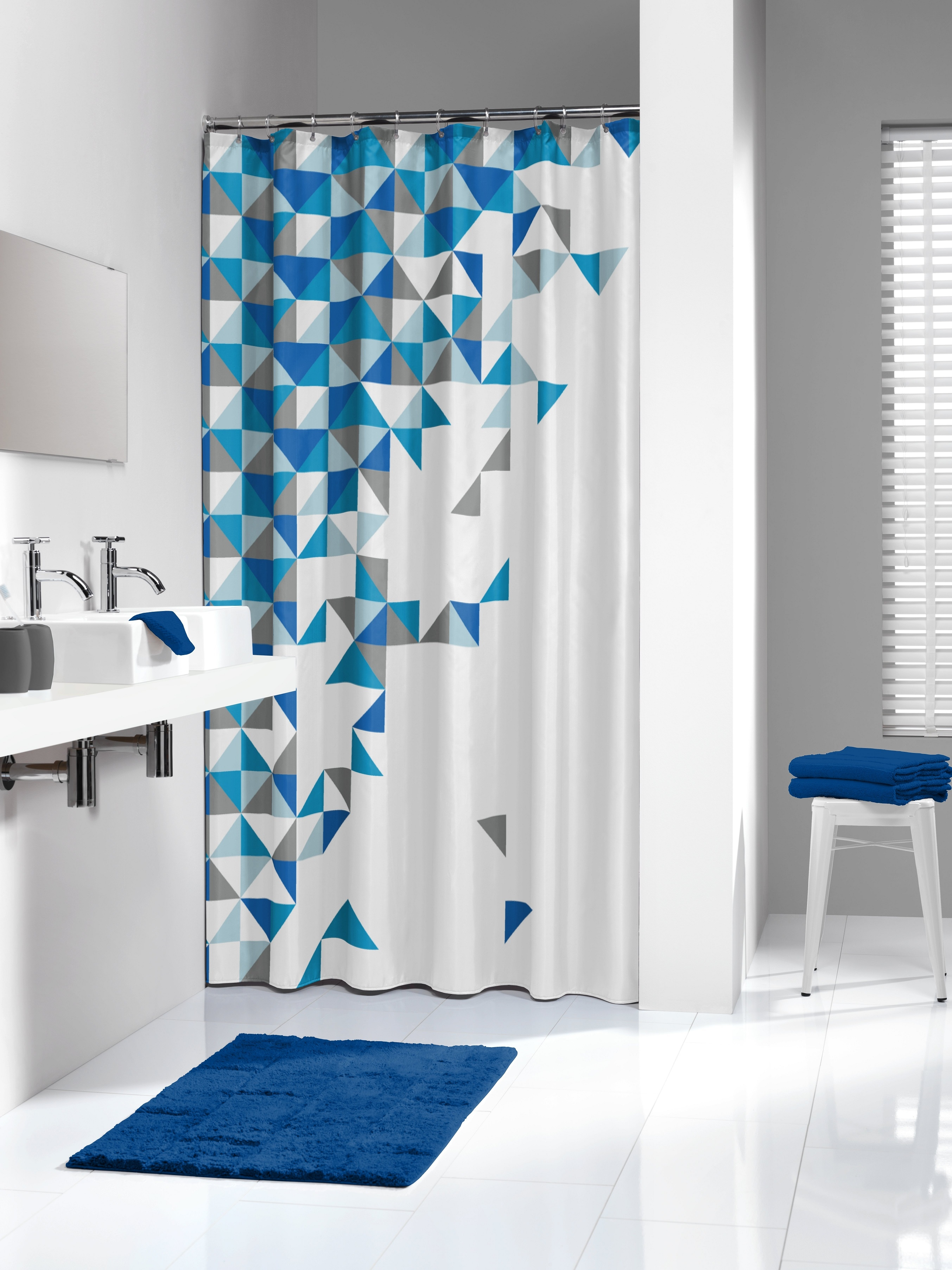 Sealskin douchegordijn Tangram 100% polyester blauw print 180x200 cm