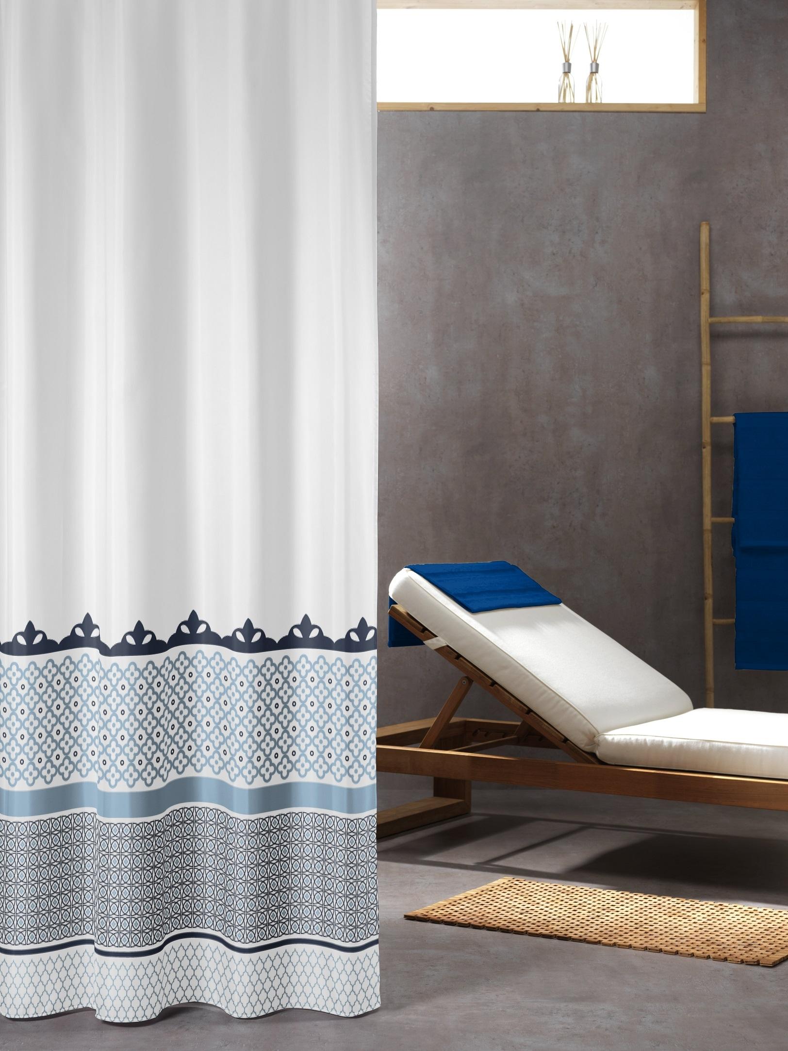 Sealskin douchegordijn Marrakech 100% polyester blauw print 180x200 cm