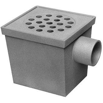 aluminium vloerput m. RVS rooster 20x20cm 75mm zijafvoer