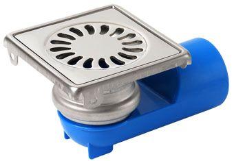 Aquaberg RVS vloerput m. ABS kunststof zij- en onderuitl. 40mm 10x10 cm waterslot 25mm