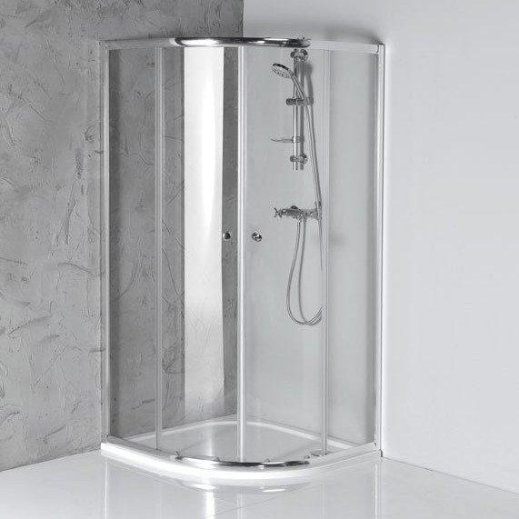 Aqualine Arleta chromen douchecabine kwartrond 80x80cm