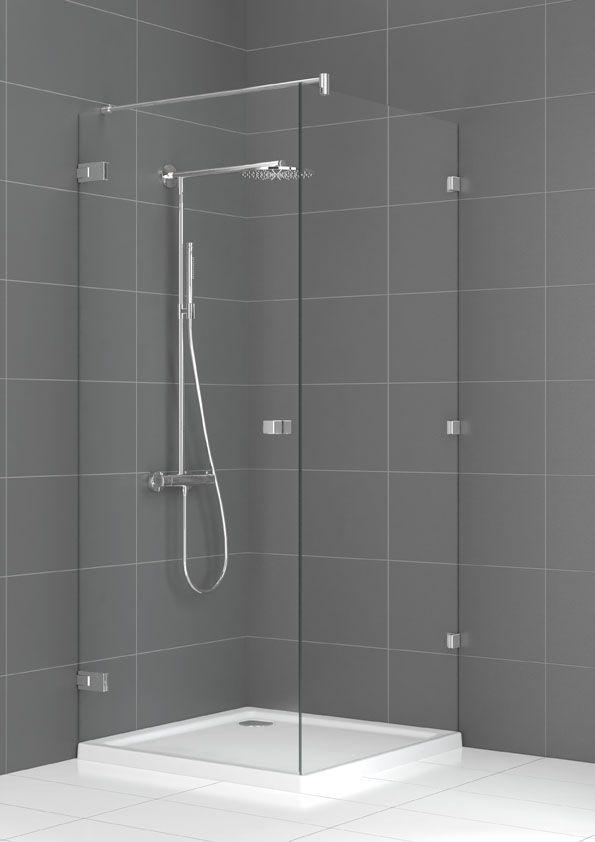 Aqualux Couture Zijwand 88x200 cm incl. stabilisatiestang chroom