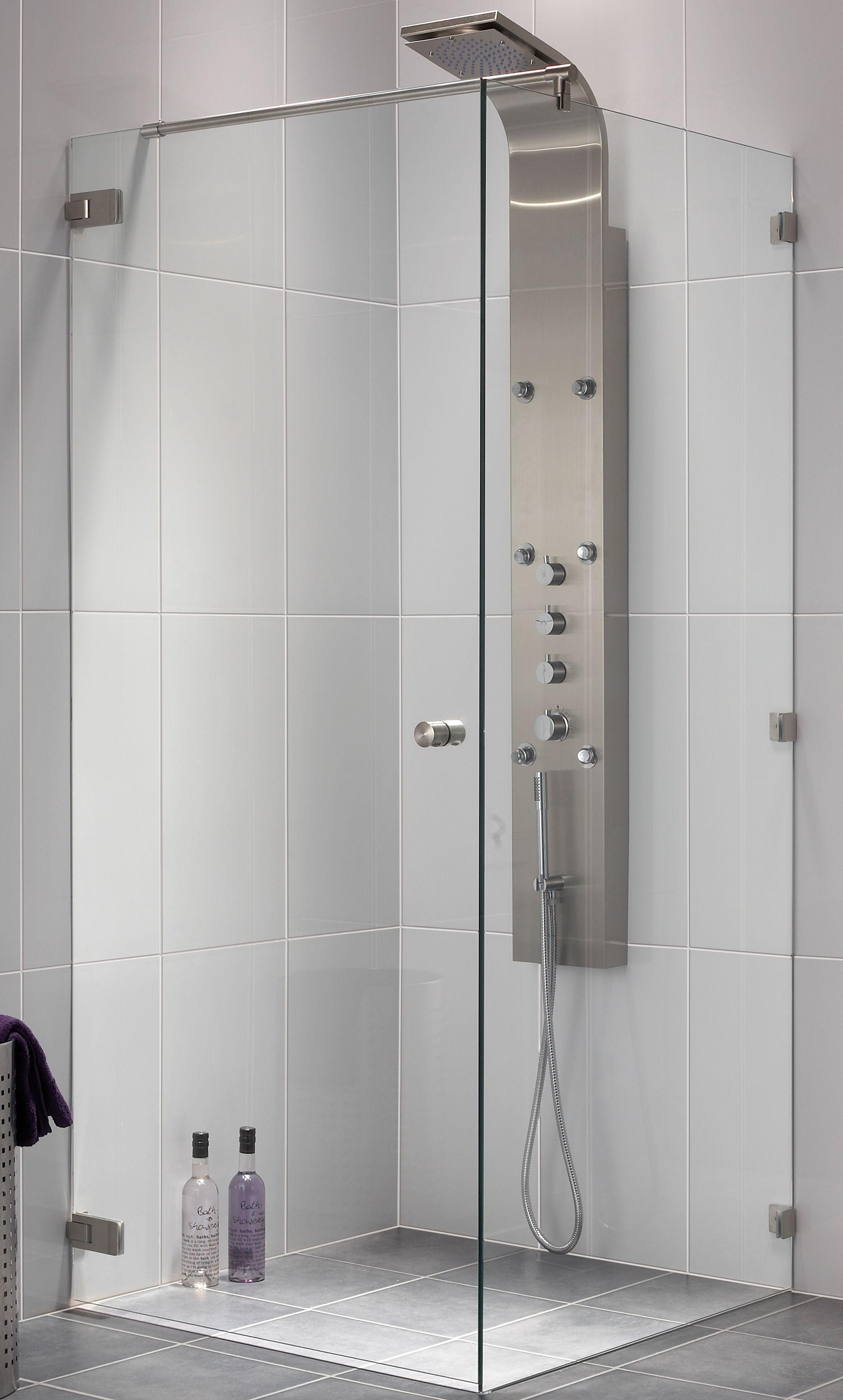 Aqualux Couture Zijwand 88x200 cm incl. stabilisatiestang rvs
