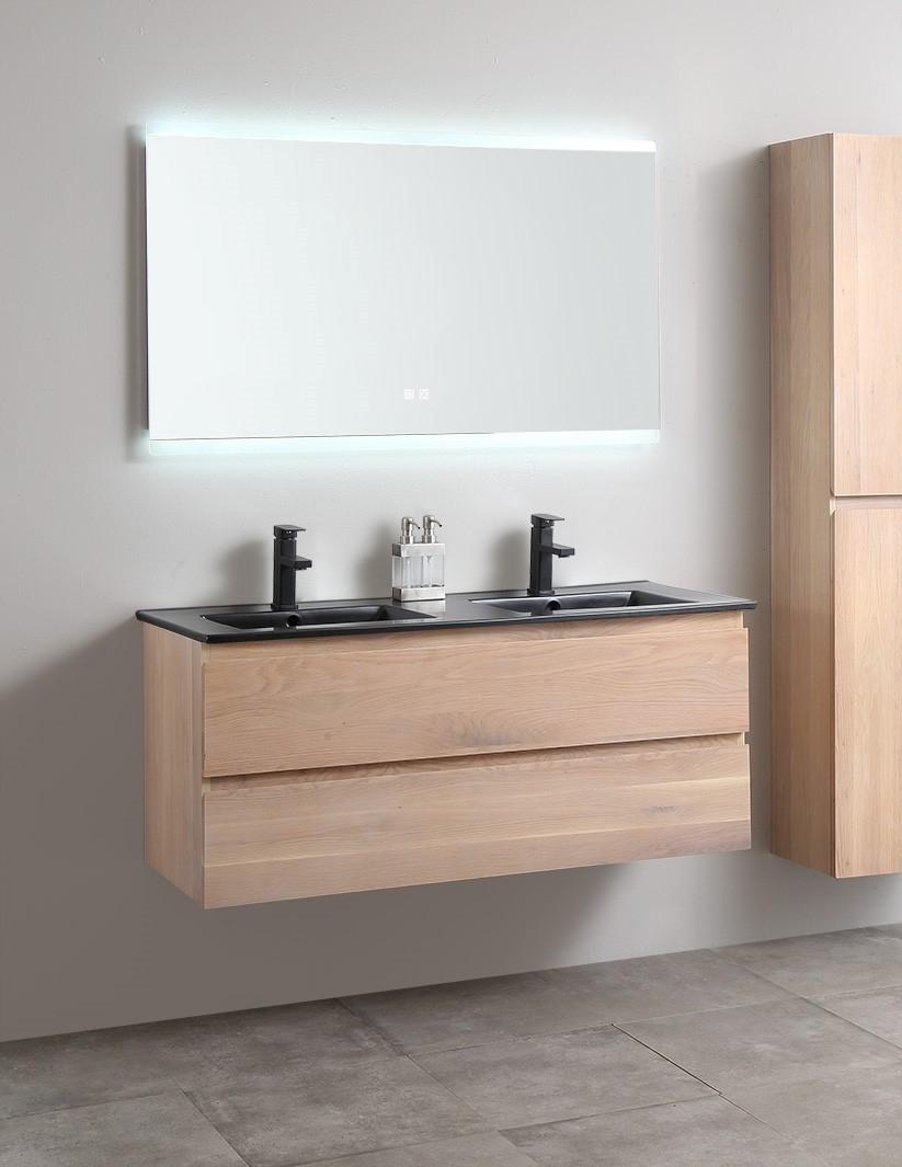 B-Stone Boston badkamermeubel 120cm eiken met zwarte keramische dubbele wastafel