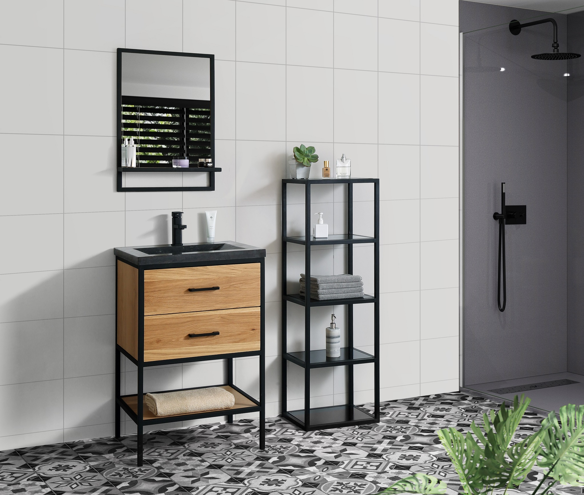 B-Stone Metal staand badmeubel 60cm zwart eiken met natuursteen wastafel