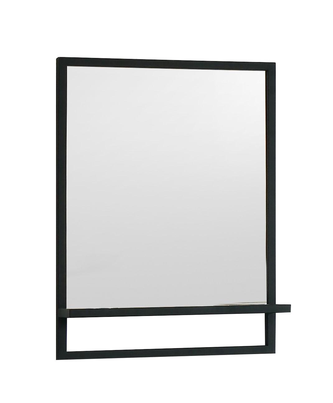 SCHADEMODEL: B-Stone Metal zwarte spiegel met planchet 60x70cm