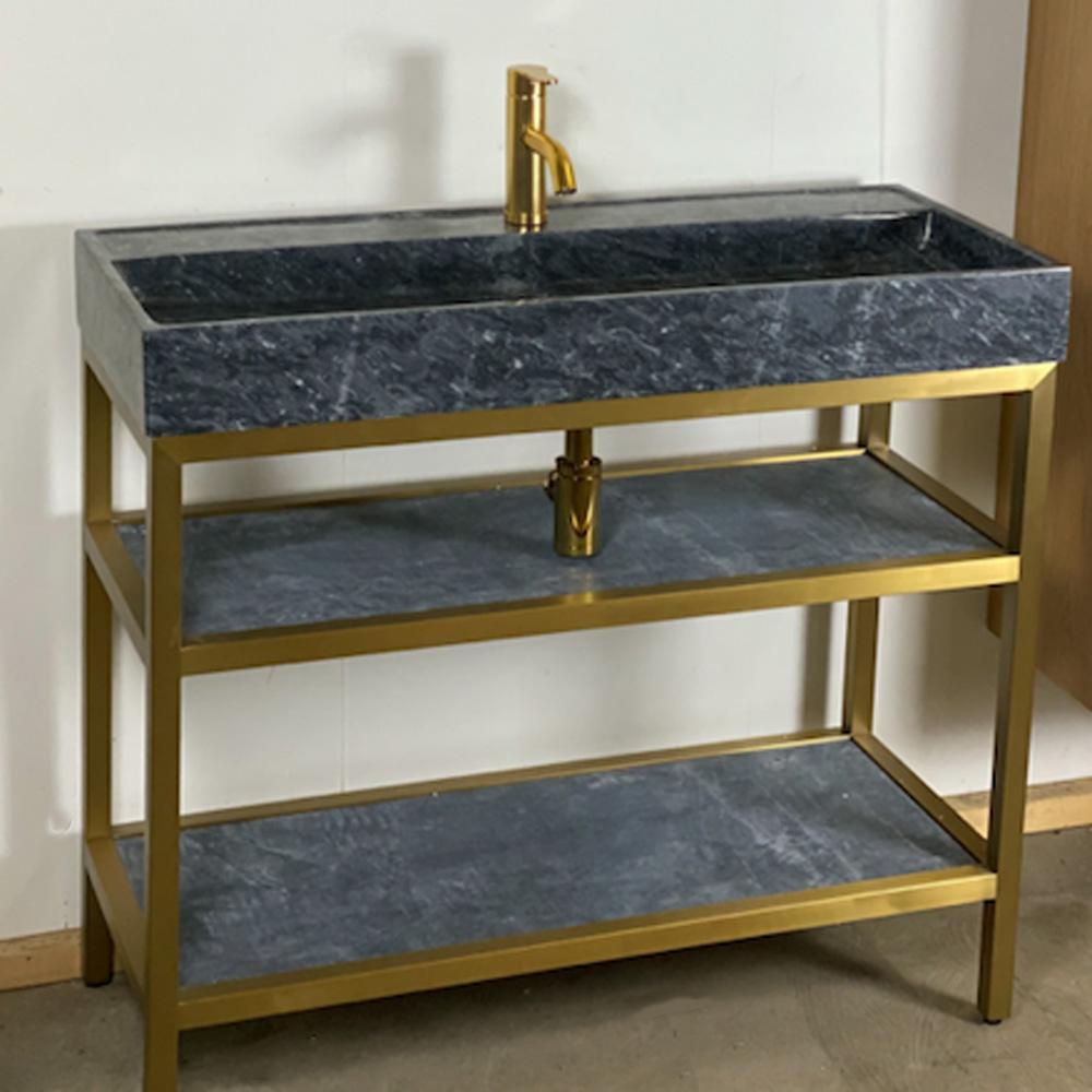 B Stone natuurstenen badmeubel 100cm met gouden frame
