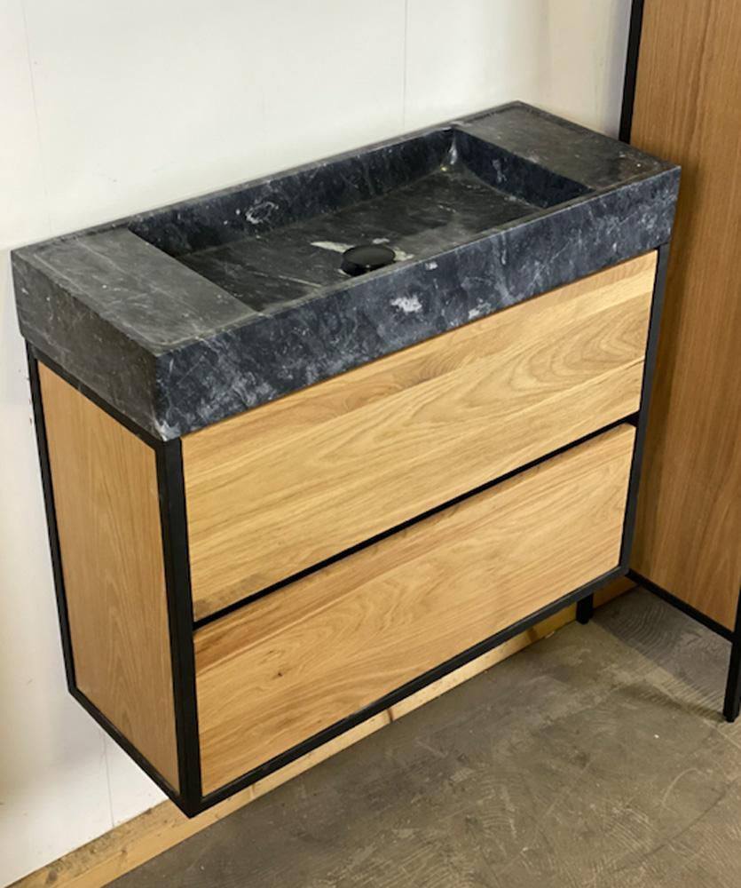 B Stone Wood compact eiken badkamermeubel 80cm met natuurstenen wastafel