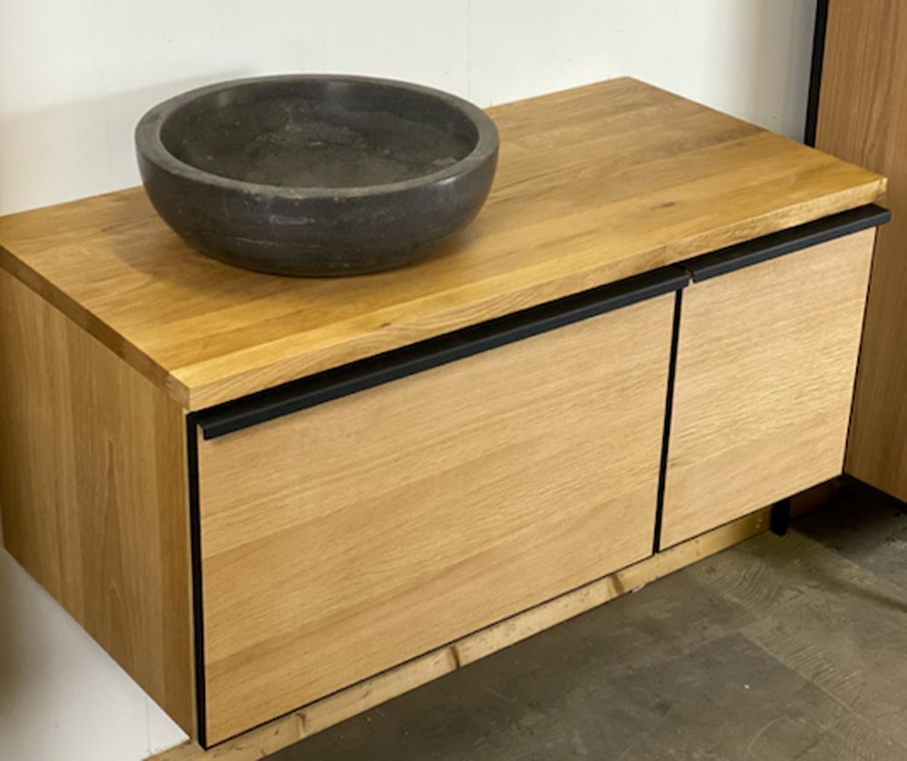 B Stone Wood eiken badmeubel 100cm met topblad en softclose lade