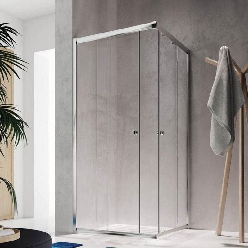 Badstuber Corner vierkante douchecabine 90x90x185cm chroom
