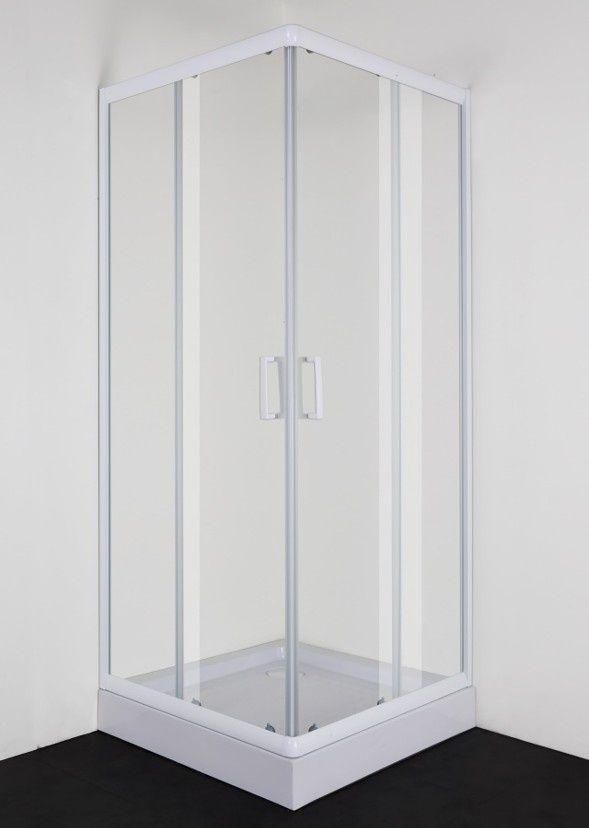 Productafbeelding van Badstuber Freeze vierkante douchecabine 80x80cm wit helderglas