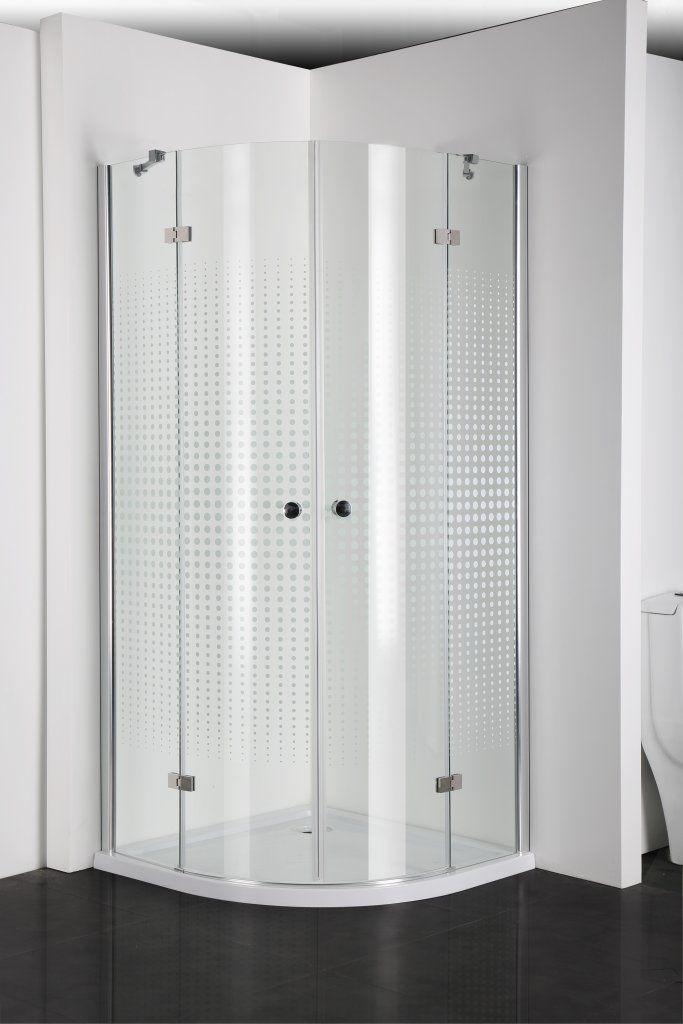 Badstuber Simply decor douchecabine kwartrond 90x90cm 2 deuren