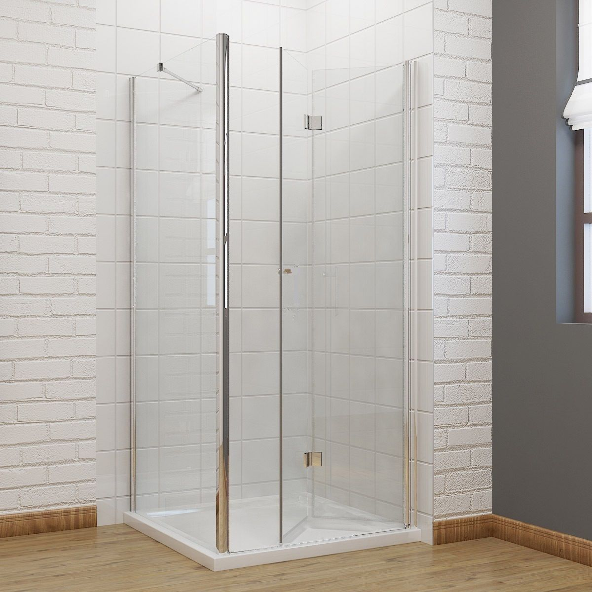 Productafbeelding van Badstuber Smart douchecabine met vouwdeur 100x100cm rechts