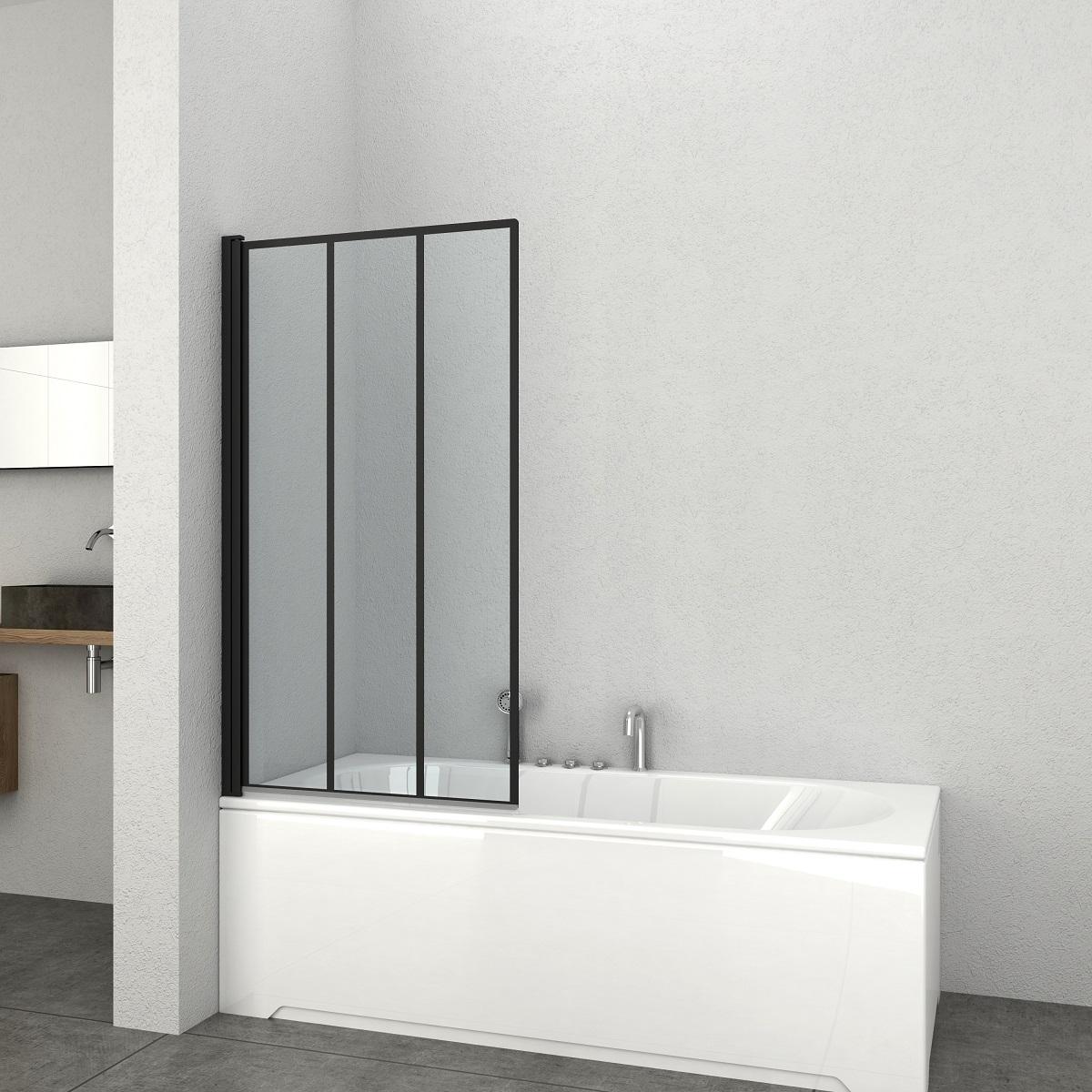 Badstuber Soho badscherm 140x80cm badwand mat zwart