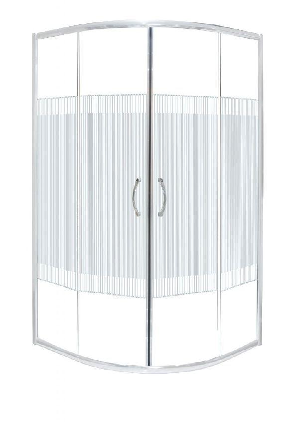 Productafbeelding van Badstuber White douchecabine kwartrond met decor 80x80x180cm