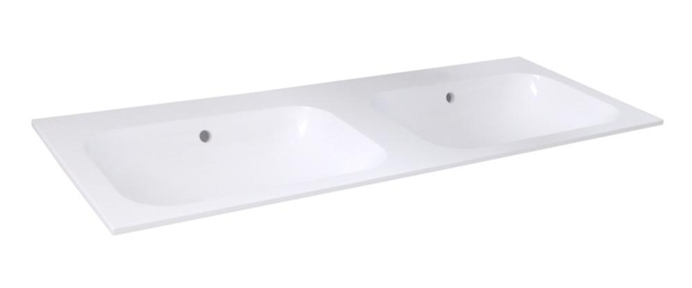 Best Design Bora dubbele wastafel zonder kraangaten polybeton wit