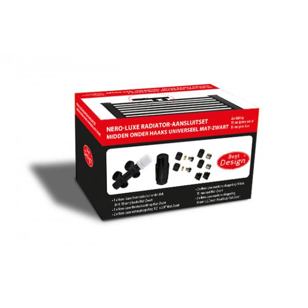 Best Design Nero radiator aansluitset universeel midden onder haaks