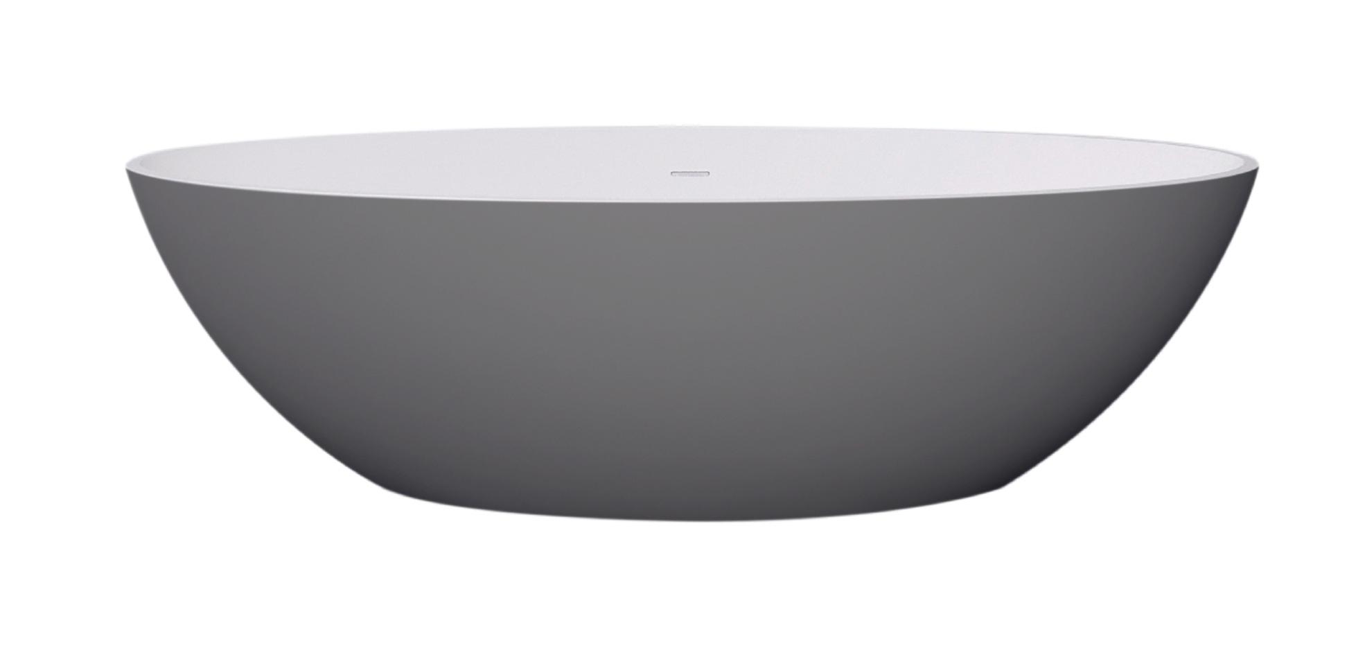 Best Design New Stone Bicolor vrijstaand bad grijs/wit 180x85x52cm
