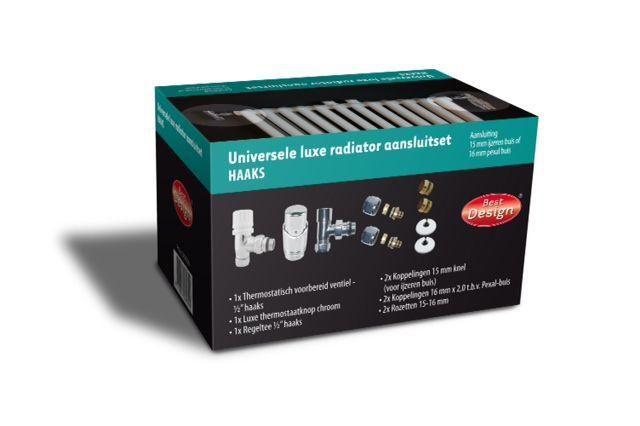 Best Design Universele luxe radiator aansluitset haaks