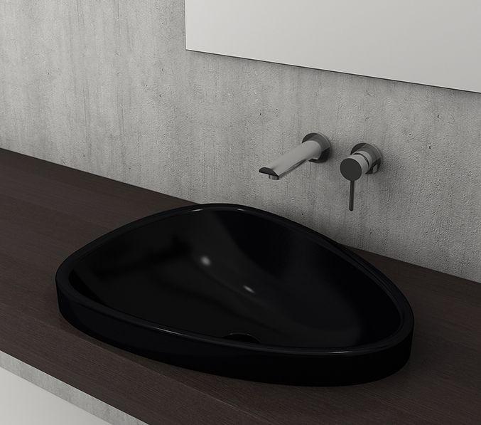 Bocchi Etna opbouw waskom zonder kraangat glans zwart