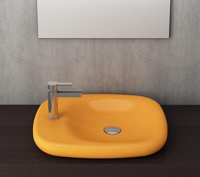 Bocchi Fenice waskom 54cm glans geel