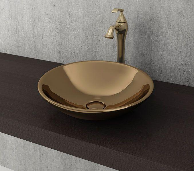 Bocchi Lucca waskom 40cm glans goud