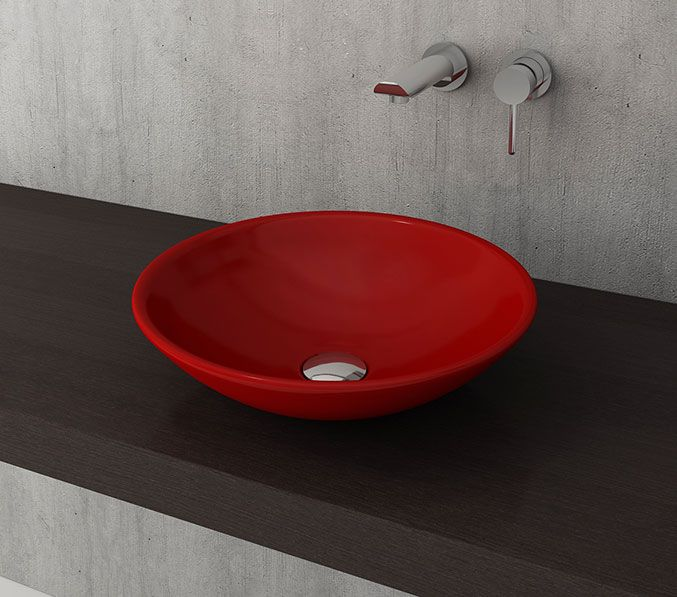 Bocchi Lucca waskom 40cm glans rood