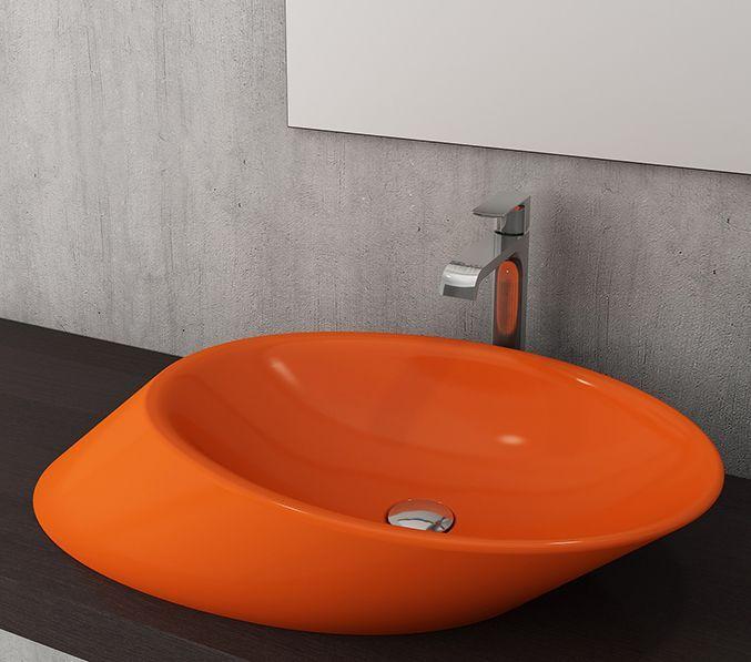 Bocchi Milano waskom zonder kraangat glans oranje