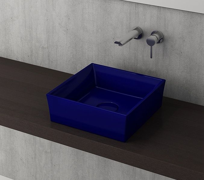 Bocchi Modena vierkante waskom 38cm zonder kraangat glans blauw