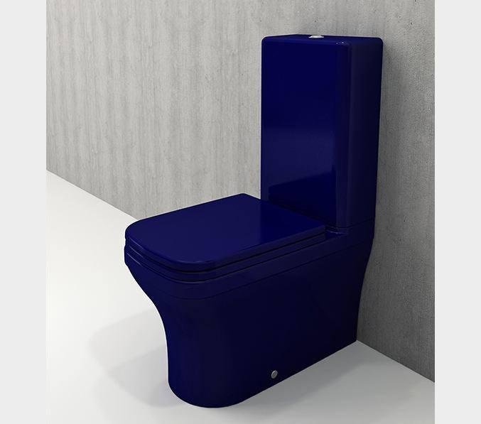 Bocchi Scala Arch staande toiletpot glans blauw met spoelbak