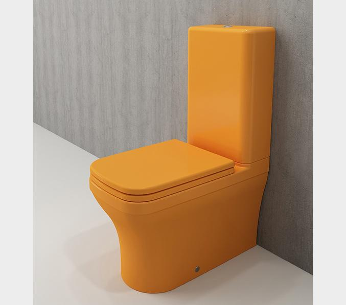 Bocchi Scala Arch staande toiletpot glans geel met spoelbak