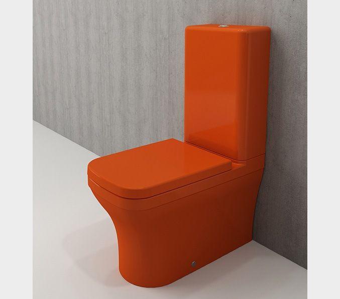 Bocchi Scala Arch staande toiletpot glans oranje met spoelbak