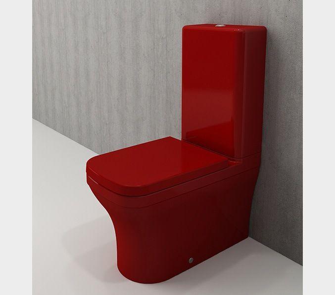 Bocchi Scala Arch staande toiletpot glans rood met spoelbak