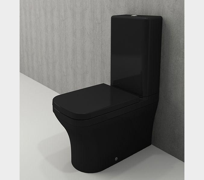 Bocchi Scala Arch staande toiletpot glans zwart met spoelbak