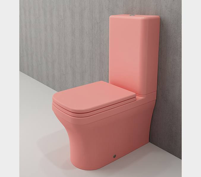 Bocchi Scala Arch staande toiletpot mat zalm met spoelbak