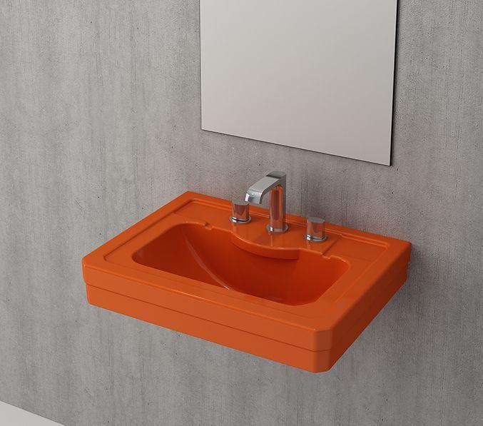 Bocchi Siena wastafel 61cm met drie kraangaten glans oranje