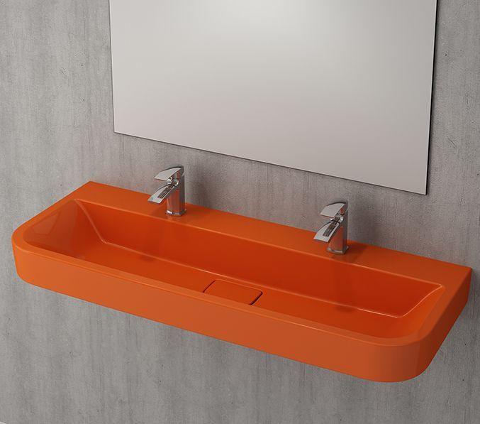 Bocchi Speciale wasbak 120cm met twee kraangaten glans oranje