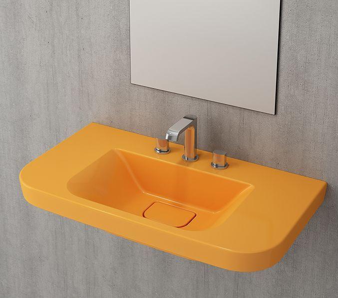 Bocchi Speciale wasbak 85cm met drie kraangaten glans geel