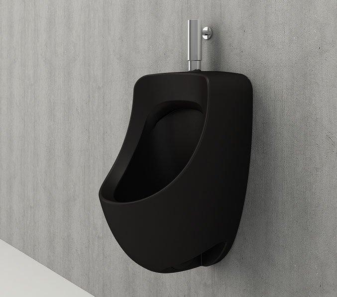 Bocchi Taormina Pro urinoir met boven aansluiting mat zwart