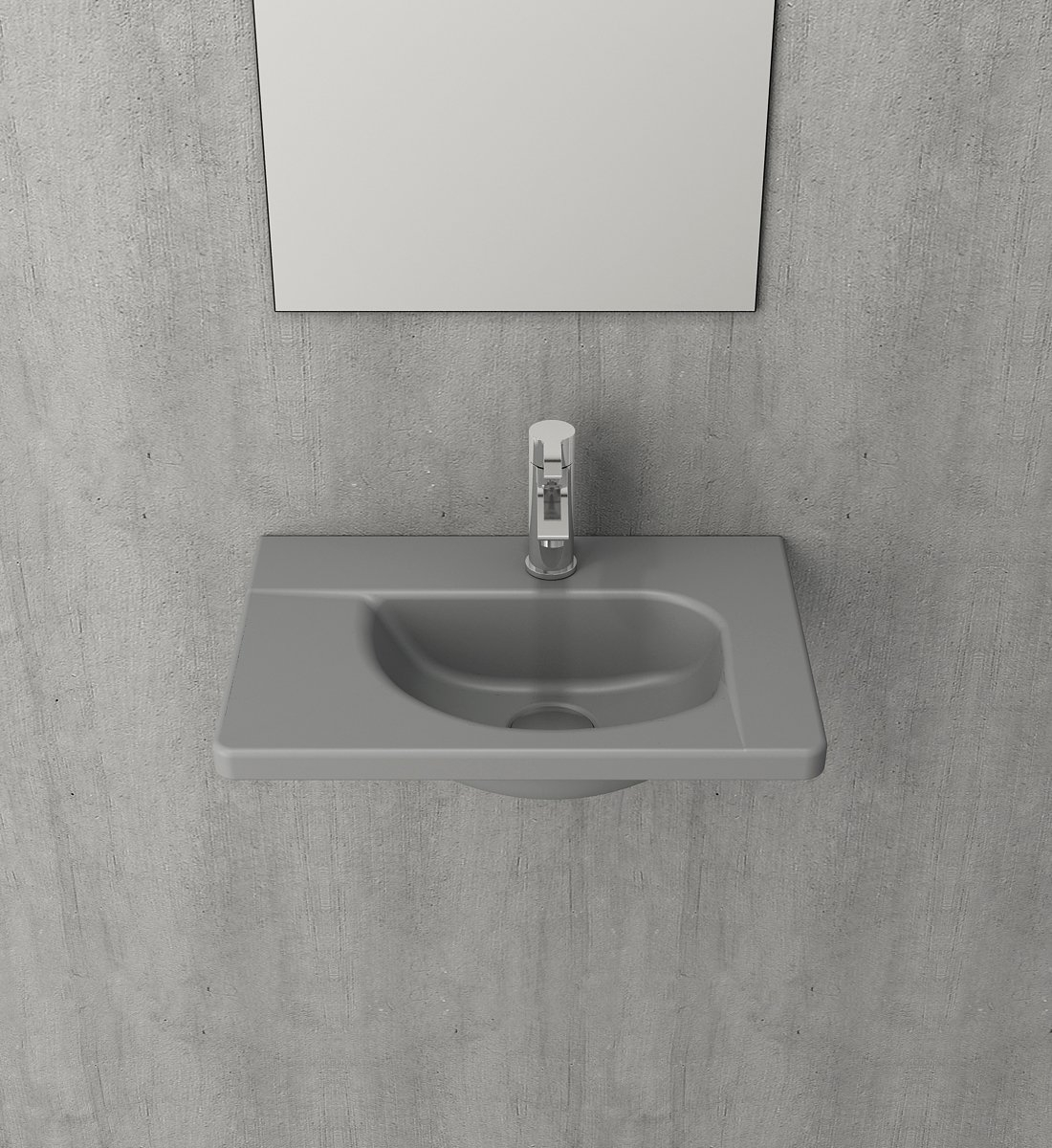 Bocchi Taormina wastafel 45x31cm mat grijs