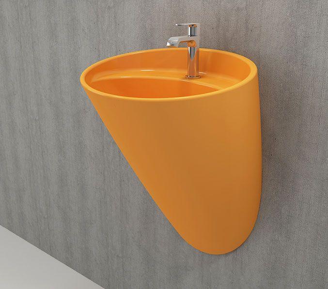 Bocchi Venezia hangende wastafel met kraangat glans geel