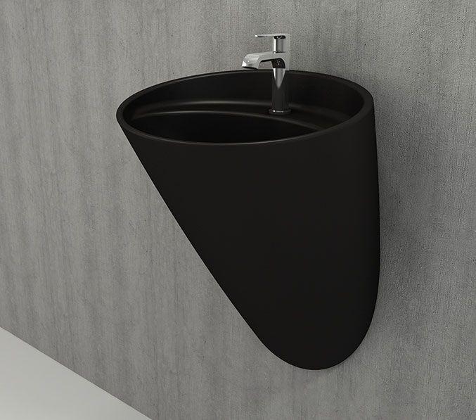 Bocchi Venezia hangende wastafel met kraangat mat zwart