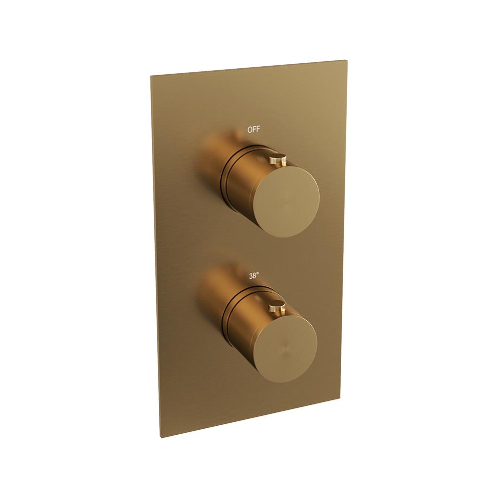 Brauer Gold Edition inbouw douchethermostaat 3-weg geborsteld messing PVD