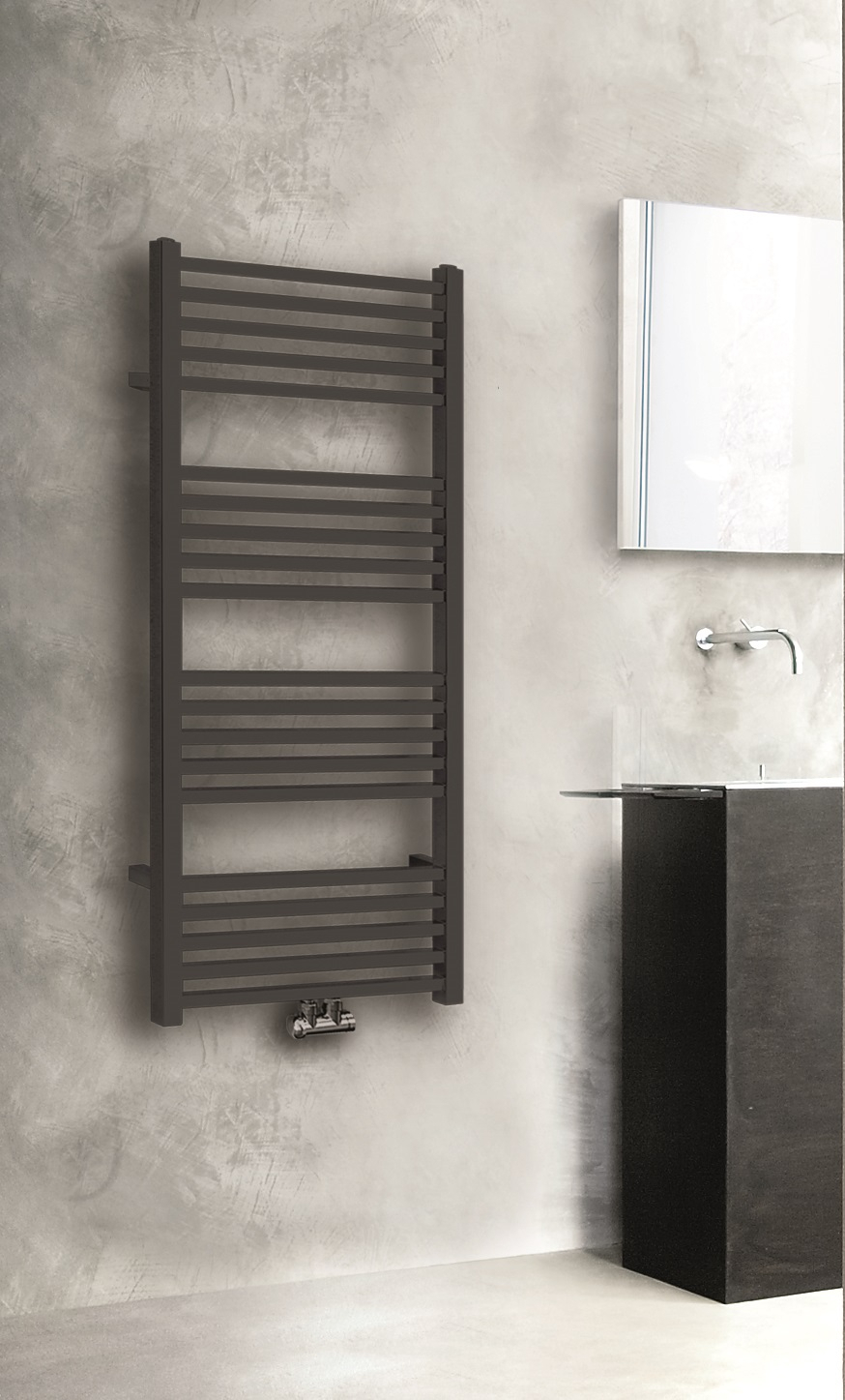 Wiesbaden Bridge designradiator mat zwart 119x60cm m-o aansluiting