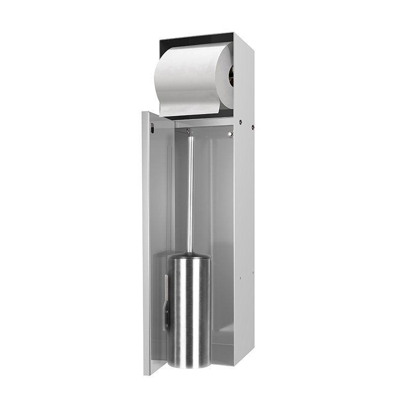 LoooX Closed inbouw toilettborstelhouder + toiletrolhouder betegelbaar RVS
