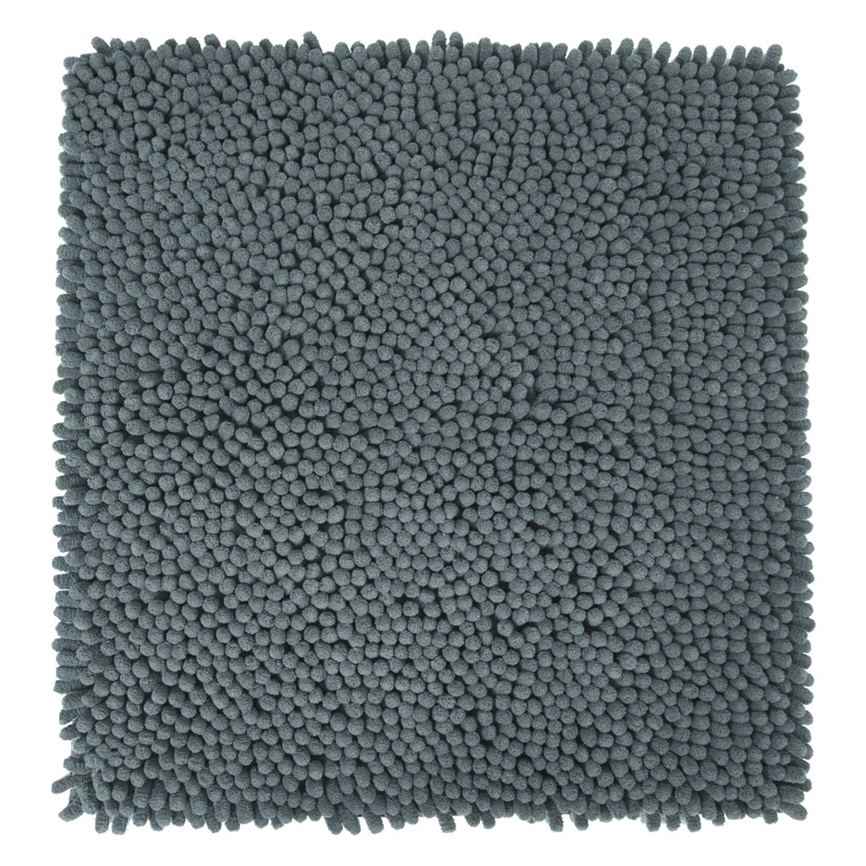 Differnz Chenille Shaggy badmat 60x60 grijs
