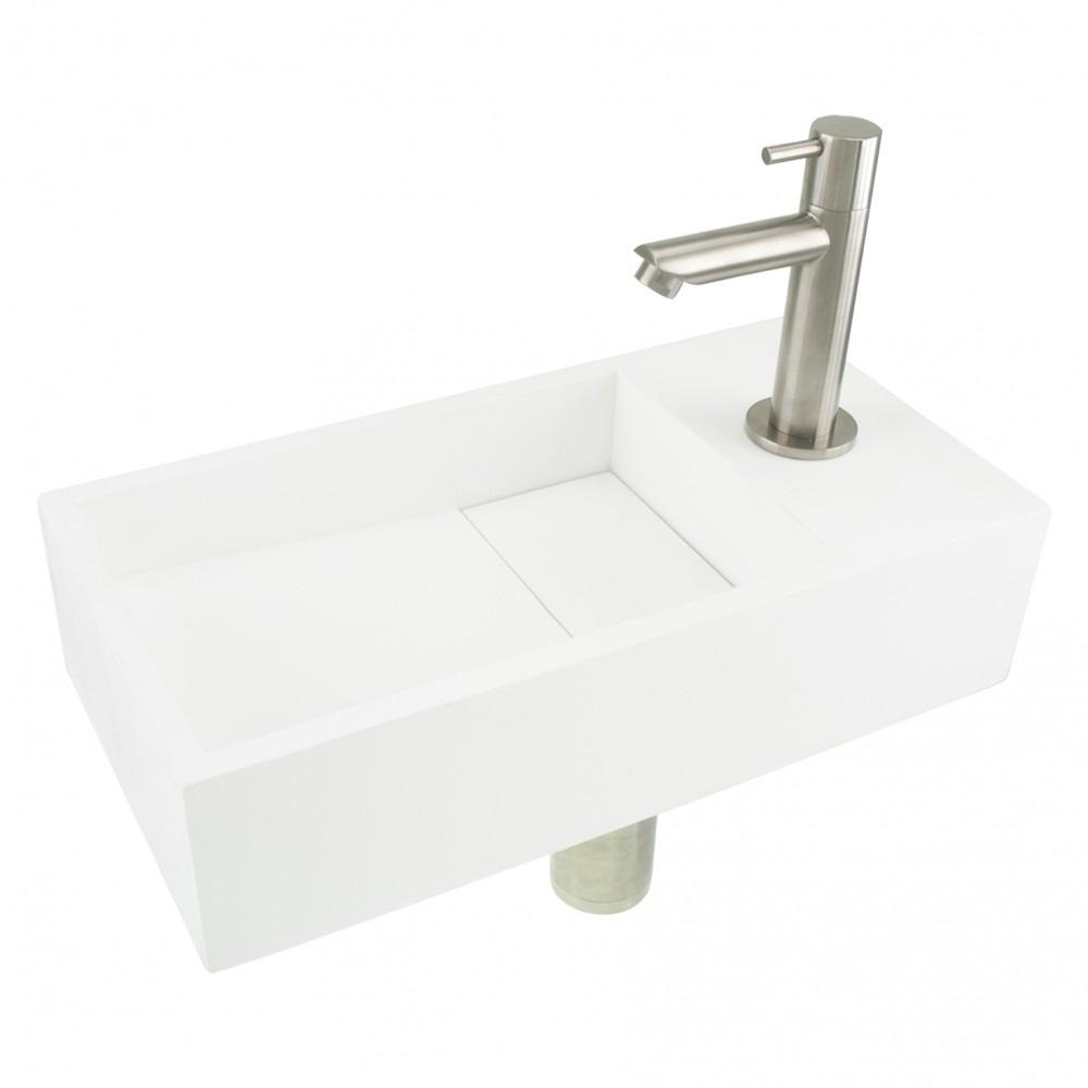 Differnz fonteinset met mat witte solid surface fontein en mat verchroomde kraan